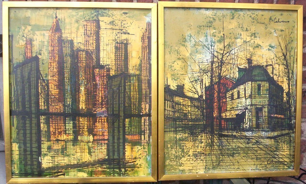 Primary image for PAIR MODERNIST CITYSCAPES SIGNED CALVAN (MSL CALVAN?)