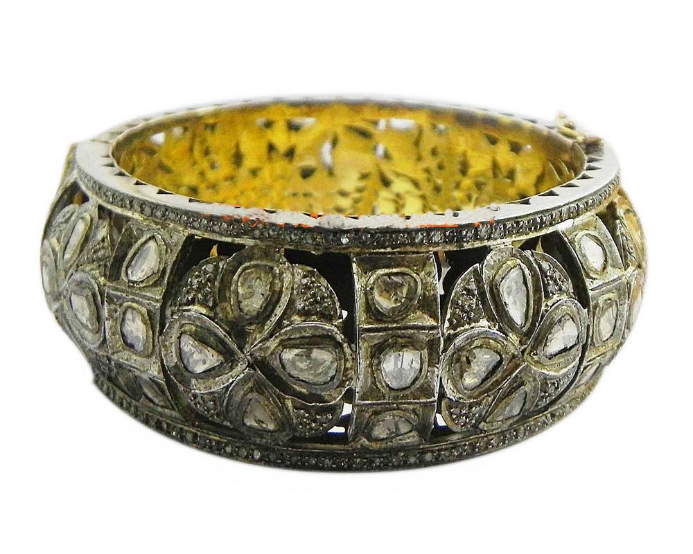 Wedding Victorian Inspir. 5.05Ctw  Rose Cut Diamond Silver Cuff Polki Bracelet