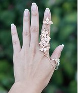 Gold Flower & Leaves Connect Ring, Chain Linked Ring, Crystal Connector ... - $18.22