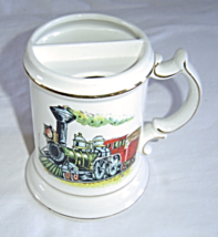 Vintage Steam Train Mustache Mug Cup Gold Trimmed 1950's Enesco - $24.99