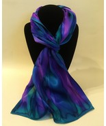 Hand Painted Silk Scarf Orchid Purple Teal Green Oblong Head Neck Womens... - $56.00