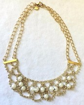 Cohesive Jewels Simulated Pearl & Crystal Gold Plated Scallop Bib Necklace NWT image 2