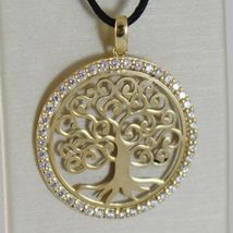 18K YELLOW GOLD TREE OF LIFE PENDANT 25 MM, 1 INCHES, ZIRCONIA, MADE IN ITALY image 3