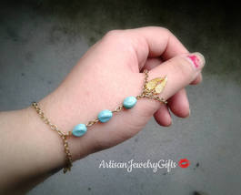 Angel Wings Thumb Slave Bracelet Turquoise Thumb Hand Chain Boho Hand Ch... - $82.00+