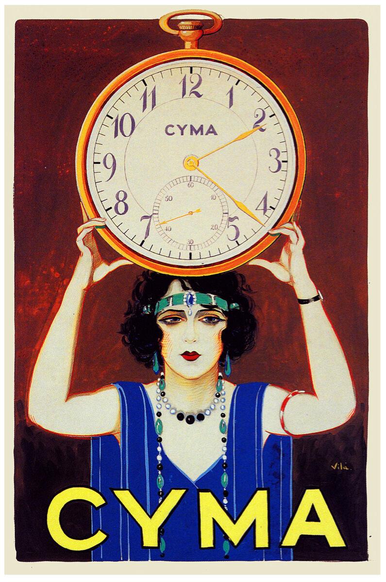 "11x14"" CANVAS Decor.Room art print.Travel shop.Cyma Clock.Deco fashion.6048 - $30.00"