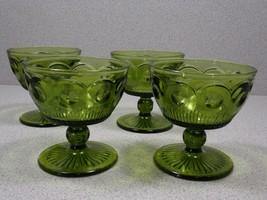 Green Glass Pedestal Desert, Ice Cream Dish  Set of 4 - $9.95
