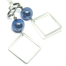"""PENDANT EARRINGS BLUE MURANO GLASS SPHERE AND BIG SQUARE 6cm 2.36"""" ITALY MADE image 1"""