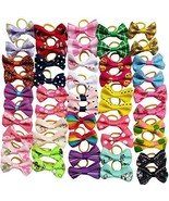 Chenkou Craft 50pcs/25pairs New Dog Hair Bows With Rubber Band Bow Pet G... - $22.88