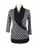 Maurices S Sm Black White Polka Dot Top Blouse Faux Wrap Ruched Career NICE - $16.44
