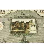 Braemore Classic Framed Horse Motif Fabric on Sage Green Base 6.75 yards  - $96.19