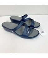 Women's Crocs Navy Wedge Sandals Slides Size 11 - $29.69