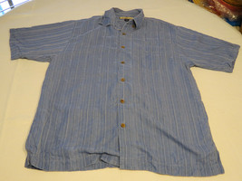 Tommy Bahama silk Men's short sleeve button up shirt M striped blue EUC@ - $21.37