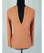 Lucy women XS orange hoodie shirt textured athletic top long sleeve - $18.74