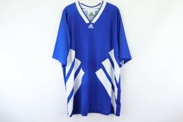 Vintage 90s Adidas Mens XLL Spell Out Big Stripes Soccer Jersey Football Blue - $39.55