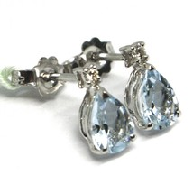 18K WHITE GOLD AQUAMARINE EARRINGS 1.20 CARATS, DROP CUT, DIAMONDS, ITALY MADE image 1