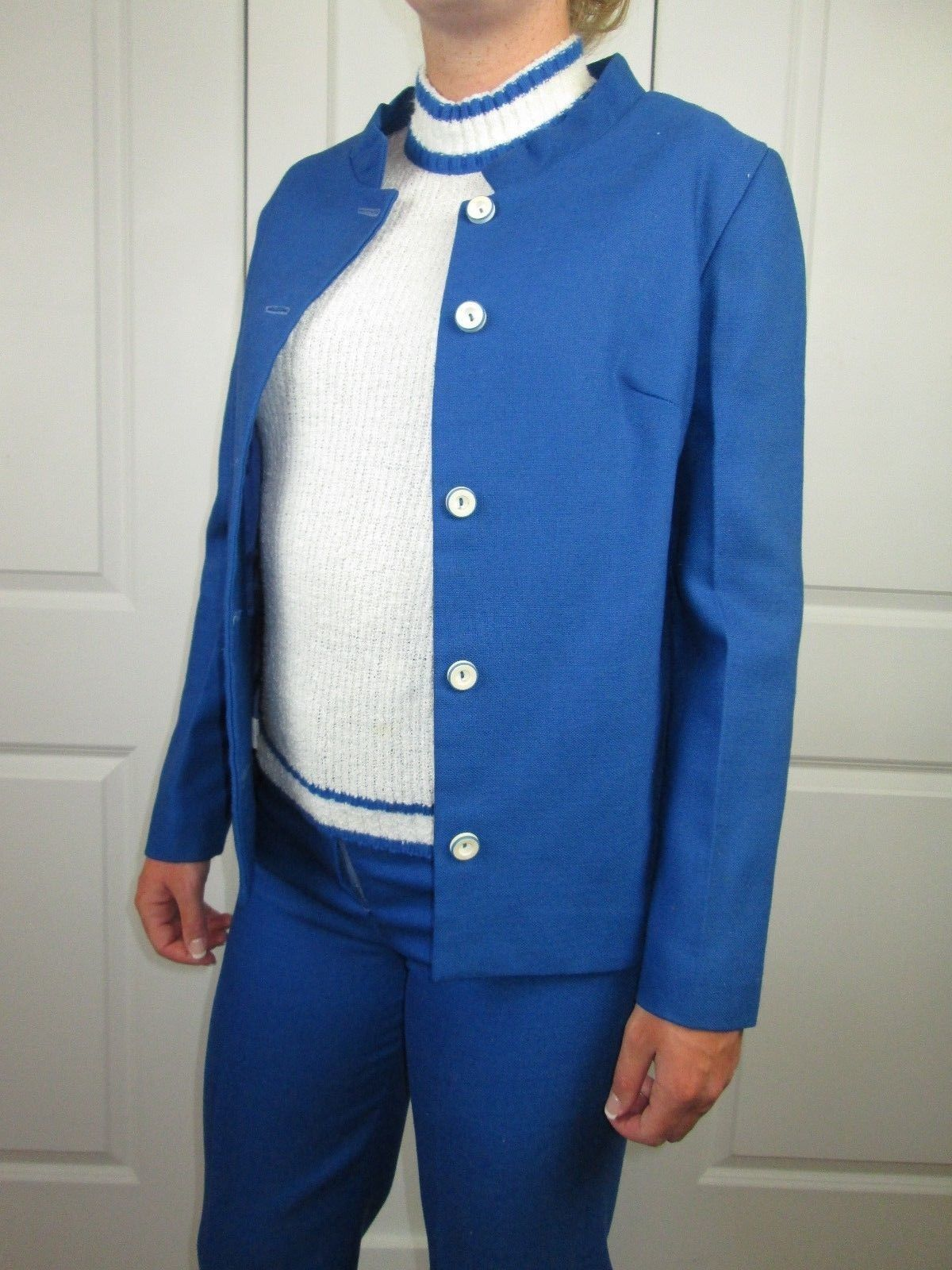 Primary image for 1970's Vintage 3 Piece Suit Jacket Pant Top Blue White Adult Small Office Attire