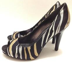 Nine West Womens Sz 8 Zebra Open Toe Heels Black Gold Silver Shoes  - $39.59