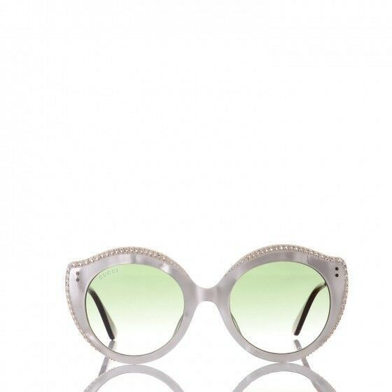 $790 NEW GUCCI Crystal Cat Eye GG0214S Sunglasses White/Gold/Green Gradient