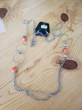 1038 Silver W/ Orange Beads Necklace Set (New) - $8.58
