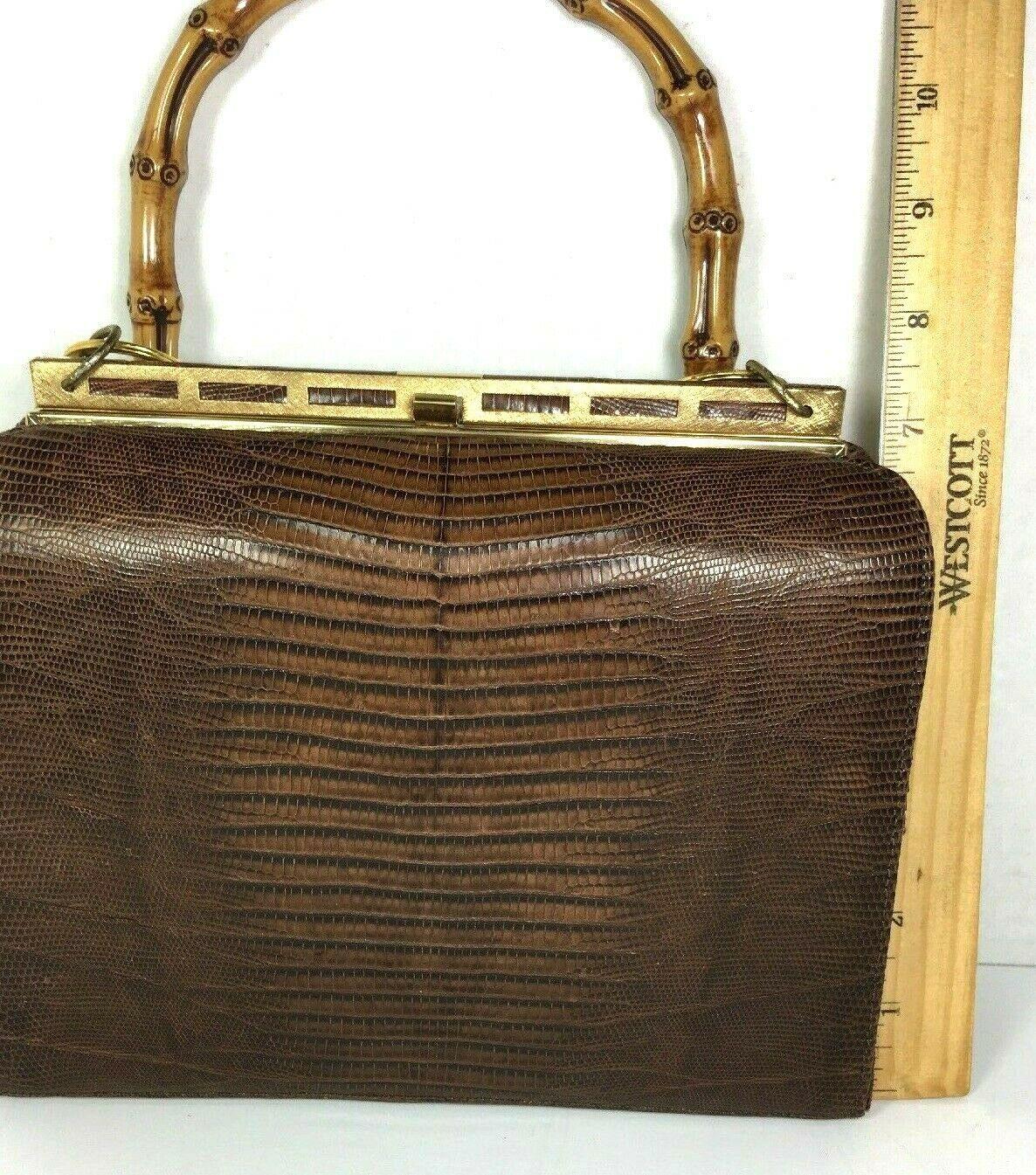 Bellestone Vtg Brown Reptile Print Leather Bamboo Handle Coin Purse Mirror Comb