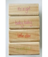 Rubber Stampede 4 Little Stamps Baby Sweet Pea It's a Girl Little Star S... - $7.84