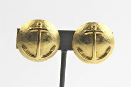 VINTAGE ESTATE Jewelry NAUTICAL BOAT ANCHOR GOLD METAL CLIP EARRINGS CRU... - $10.00