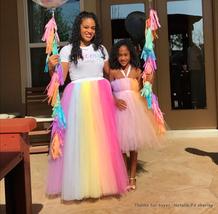 Adult RAINBOW Tulle Skirt Multi Colored Long Rainbow Tutu Skirts Plus Size  image 6