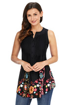 Cute Floral Print Black Ruched Tank Top  - $18.56
