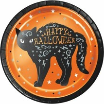 "Wicked Witch Cat Foil 8 Ct Halloween 7"" Dessert Cake Plates - $5.49"