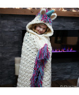 Kids Unicorn Winter Warm Wool Blanket Cute Knitted Crochet Scarf Tassel ... - $29.90