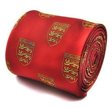 Frederick Thomas red tie with three lions crest design mens England Football tie