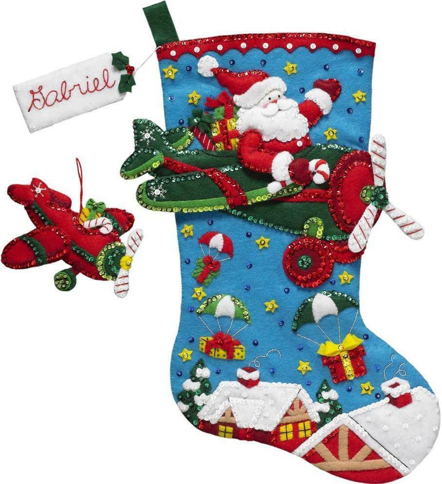 BUCILLA FELT JEWELED CHRISTMAS STOCKING KIT SANTA POINSETTIA TREE FLOWERS GIFTS