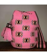 Authentic 100% Wayuu Mochila Colombian Bag Large Size exclusive evil eyes patter - £109.85 GBP