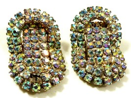 Vintage Gold wash Aurora Borealis Multi Rhinestone Crystal clip on Earrings - $64.35