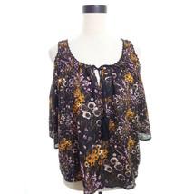 Boho Floral Open Shoulder Blouse Top Medium - $24.00