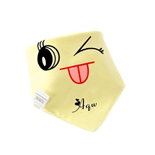 4Pcs Baby Neckerchief/Saliva Towel For Baby,Pure Cotton(Yellow Smiling)