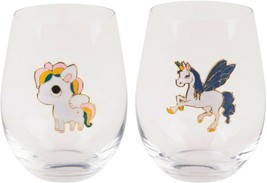 2 ASSORTED UNICORN METAL ICON 19 OZ STEMLESS GLASS BY HOME ESSENTIALS - $43.51