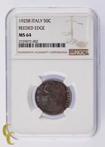 1925R Italy 50 Centesimi 50C Reeded Edge NGC Graded MS64 - $989.99