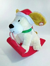 Hallmark Antimated  Rockin Rover White Dog On Red Sled Barks Jingle Bell... - $25.73