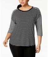 Calvin Klein Performance Plus Size Mixed-Stripe Drop-Shoulder Top, MSRP $59 - $23.74