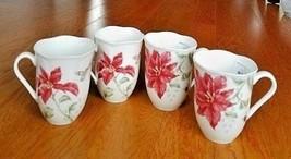 4 LENOX BUTTERFLY MEADOW CHRISTMAS COFFEE MUGS HOLIDAY POINSETTIA FLOWER... - $59.39