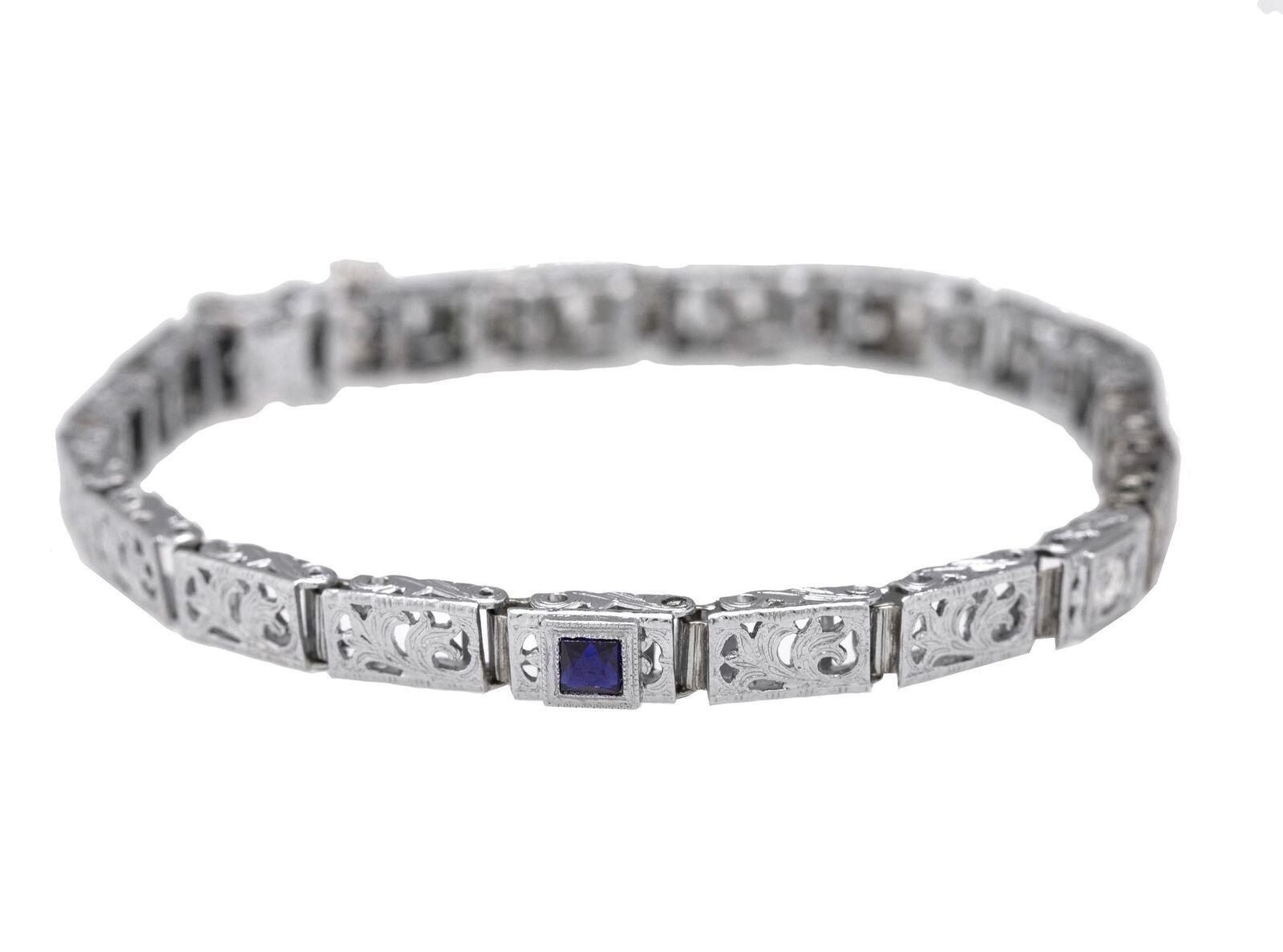 1930s Antique Art Deco 14K White Gold 0.29ctw Sapphire Diamond Filigree Bracelet