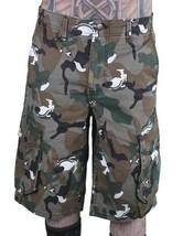 LRG Men's Khaki Wolf Camouflage Unnatural Palette Cargo Walk Shorts 28 image 1