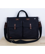 JACK SPADE TED Canvas Messenger Bag Black w/ Light Padding for Laptop - $29.39