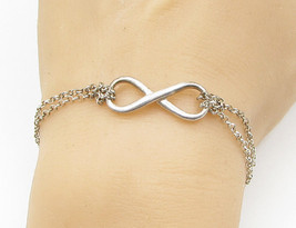 ITALY 925 Sterling Silver - Vintage Infinity Rolo Chain Bracelet - B1297 - $23.33