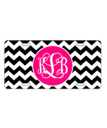 MONOGRAMMED LICENSE PLATE CUSTOM CAR TAG BLACK CHEVRON WITH HOT PINK - $13.21