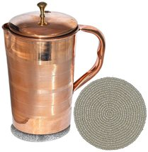 Om Creation Pure Copper Jug with Lid for Health Benefits Indian Drinkwar... - $25.53