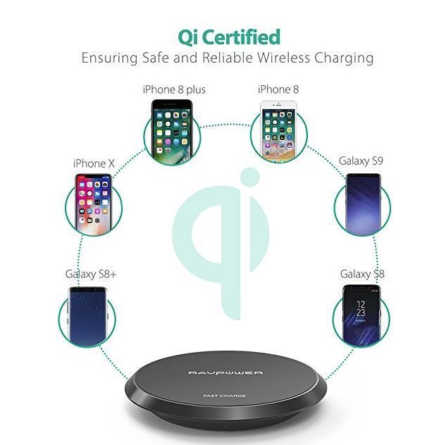 Fast Wireless Charger RAVPower Qi Certified Quick Charging Pad best + safe USA