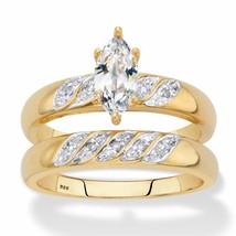 .74 TCW 18k Gold over Silver CZ Diagonal Bridal Ring Set - $99.99