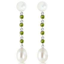 Womens Girls 11 CTW 14K Solid White Gold Deceitful Games Peridot pearl Earrings - $262.03
